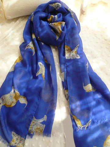 Chic Style Kitten & Fox Pattern Raw Edge Scarf - NAVY