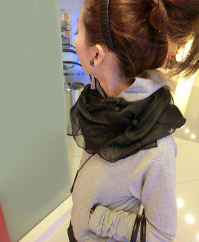 Simple Chic Style Tiny Balls Design Ruffles Scarf - BLACK