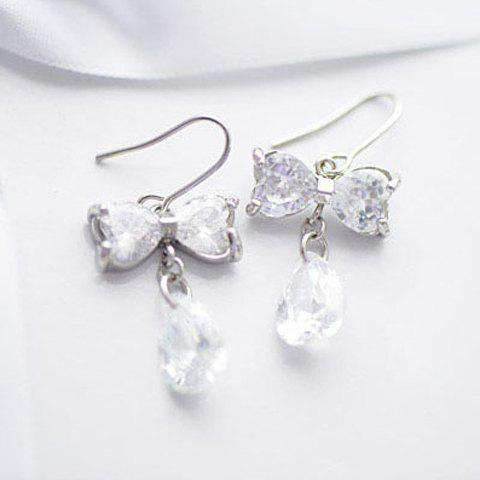 Pair Of Delicate Bowknot & Waterdrop Shape Zircon Earrings - WHITE