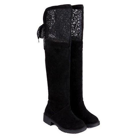 Sweet Openwork and Lace-Up Design Thigh Boots For Women sexy suede and lace design thigh boots for women