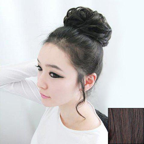 Sweet Style Fashion Fluffy Curled High Temperature Fiber Women's Chignons - DEEP BROWN