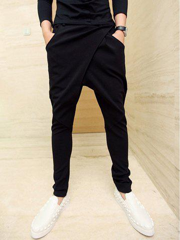 Korean Style Solid Color Narrow Feet Polyester Parachute Pants For Men - BLACK XL