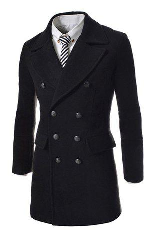 Fashion Style Turndown Collar Solid Color Slit Back Design Woolen Long Sleeves Pea Coat For Men - BLACK M