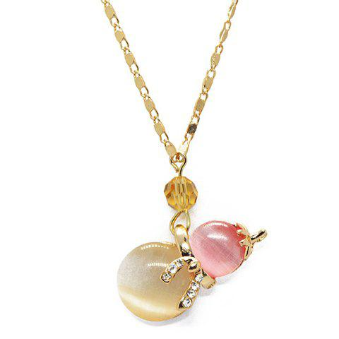 Chic Colored Faux Opal Calabash Pendant Beaded Necklace For Women - AS THE PICTURE