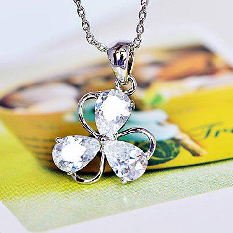 Fashion Faux Crystal Embellished Hollow Clover Pendant Alloy Necklace For Women - SILVER