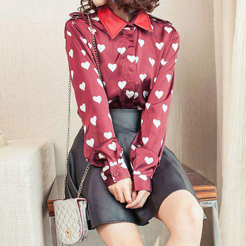 Women's Graceful Heart Print PU Leather Splicing Long Sleeves Blouse - WINE RED M