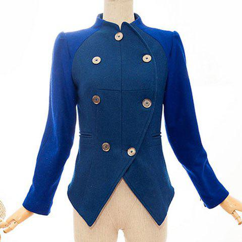 Women's Graceful Color Matching Double-Breasted Long Sleeves Coat - BLUE XL