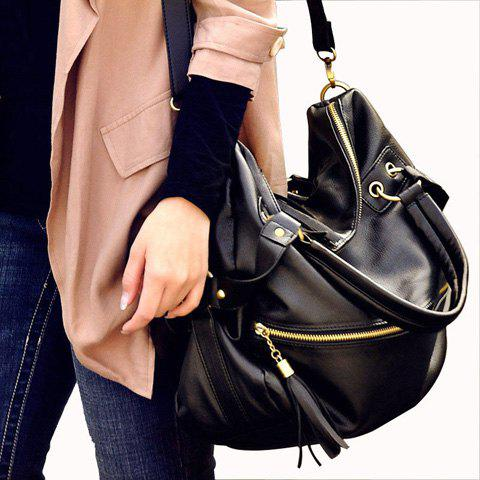 Fashion Tassels and Rivets Design Tote Bag For Women - BLACK