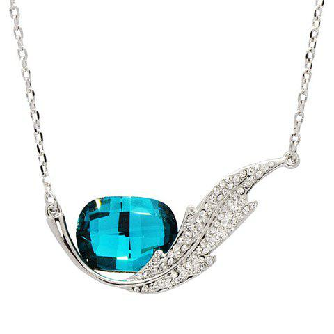 Feather Shape Rhinestoned Faux Crystal Pendant Necklace