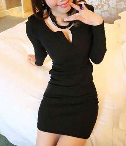 Elegant V-Neck Long Sleeve Solid Color Bodycon Dress For Women - BLACK ONE SIZE
