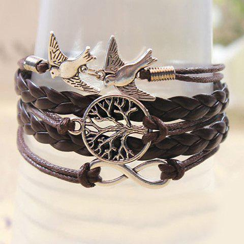 Trendy Retro Handmade Weaved Bird Decorated Bracelet