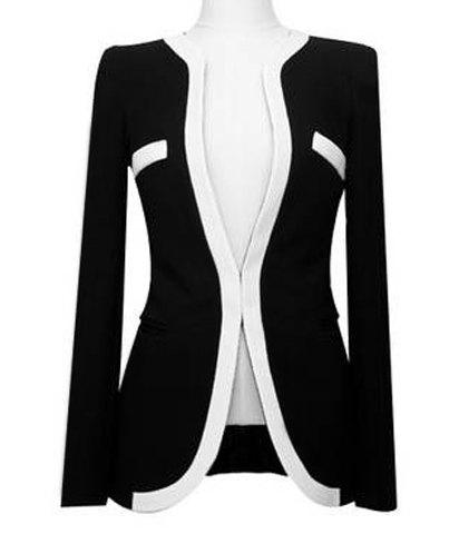 Formal Black And White Match Polyester Women's Blazer, BLACK, M in ...