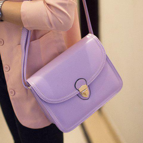 Sweet Push-lock Frame Closure and Solid Color Design Women's Crossbody Bag - PURPLE