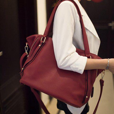 Fashion Rivets and Solid Color Design Women's Shoulder Bag - WINE RED