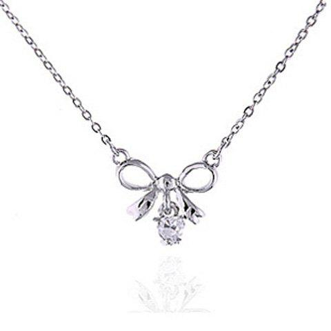 Sweet Rhinestoned Bowknot Pendant Alloy Necklace For Women