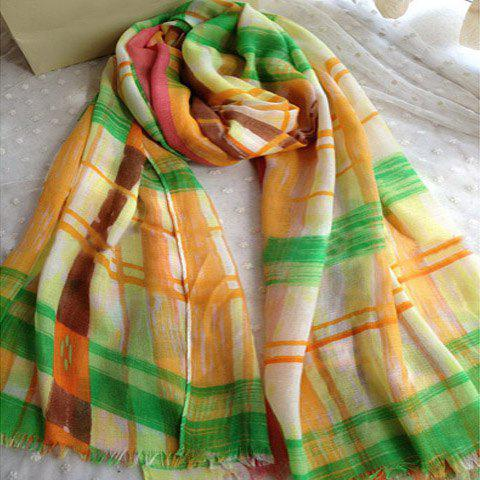 Ethnic Style Stripe & Wave Pattern Cotton Raw Edge Scarf - COLOR ASSORTED