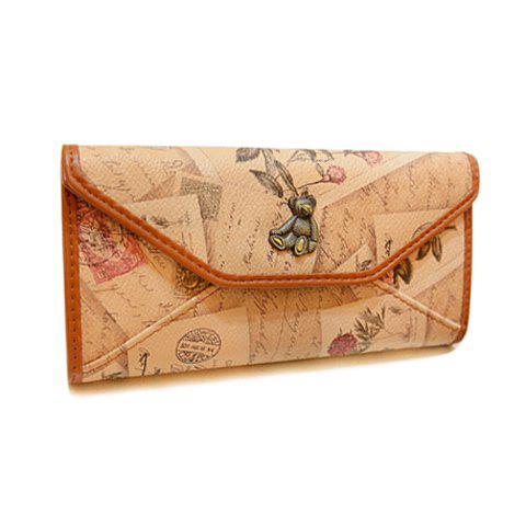 Vintage Style Print and Bear Design Cluth Wallet For Women - LIGHT BROWN