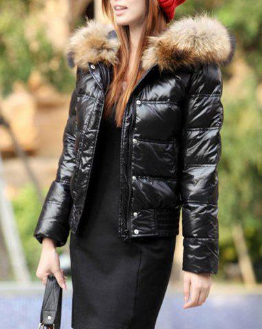 Hooded Solid Color Pocket With Zipper Thick Shorts Women's Down Coat - BLACK L