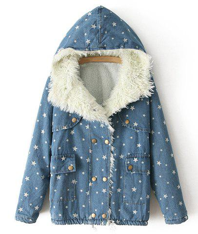 Casual Long Sleeve Star Print Denim Hooded Coat For Women - BLUE ONE SIZE