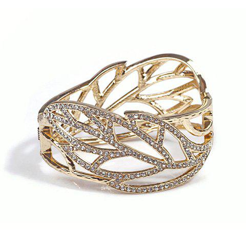Alloy Rhinestoned Openwork Leaf Shape Bracelet - AS THE PICTURE