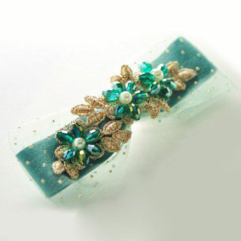 Fresh Style Beaded Flower Embellished Long Hairpin For Women - GREEN