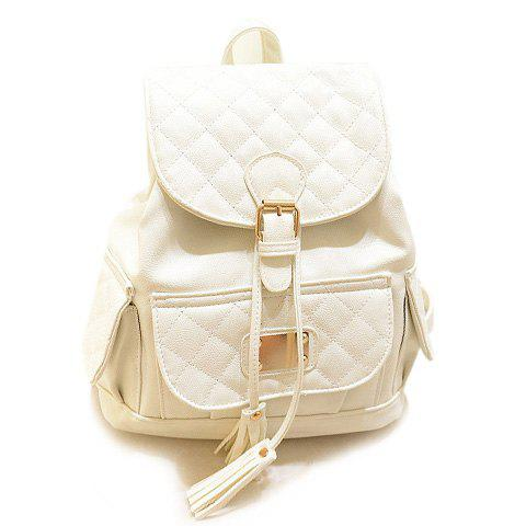 Casual Tassels and Checked Design Satchel For Women - BEIGE