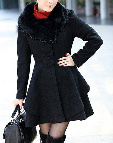 Rhinestone Buttons Decoration Stunning Style Long Sleeves Worsted Women's Coat - BLACK M