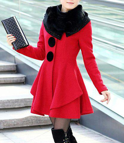 Rhinestone Buttons Decoration Stunning Style Long Sleeves Worsted Women's Coat - RED M