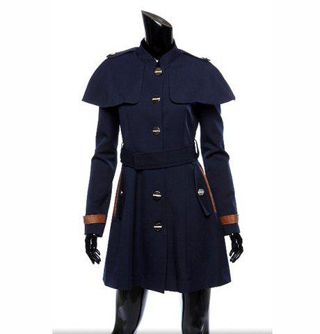 Fashionable Style Worsted Long Sleeves Skinny Single-Breasted Cape Women's Coat - SAPPHIRE BLUE XL