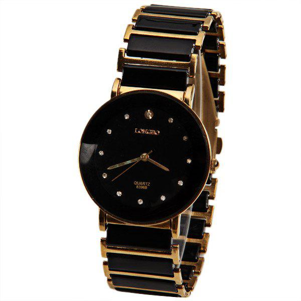 Longbo Quartz Watch with Diamond Dots Indicate Steel and Plastic Watchband for Women - BLACK