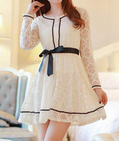 Scoop Collar Openwork Lace Bowknot Design Belt Slimming Long Sleeves Blended Women's Dress - APRICOT S
