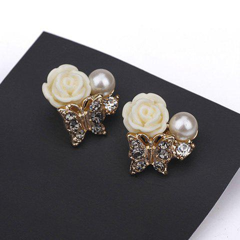 Pair of Resin Flower Butterfly Shape Faux Pearl Stud Earrings - AS THE PICTURE