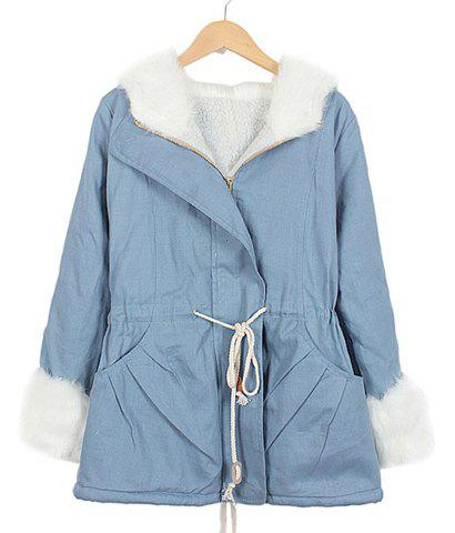 Color Block Drawstring Long Sleeves Fashionable Style Hooded Women's Coat - SKY BLUE XL