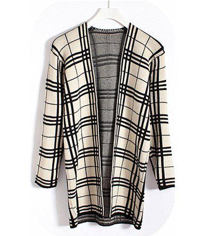 Vintage Checked (Triangle Pattern) Long Sleeves Women's Cardigan - CHECKED ONE SIZE