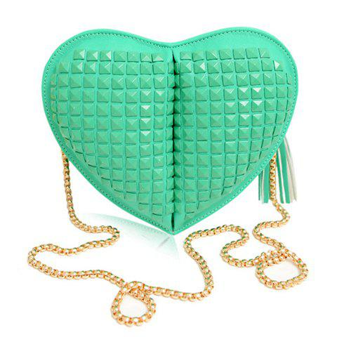 Sweet Tassels Rivets and Heart Shape Design Crossbody Bag For Women - GREEN