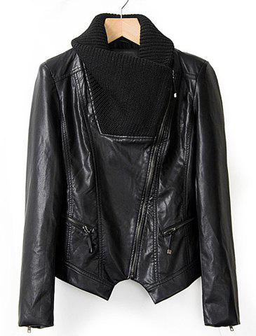Fashionable Knitted Long Sleeve Turn-Down Collar Black Leather Jacket For Women - BLACK L