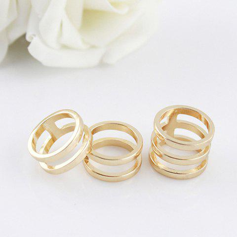 3PCS of Hollow Out Rings - AS THE PICTURE ONE SIZE