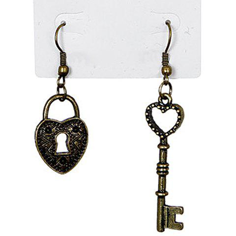 Pair of Heart Key Lock Pendant Earrings - AS THE PICTURE