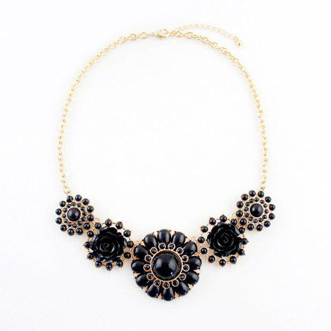 Exquisite Colored Bead and Faux Gemstone Embellished Flower Pendant Alloy Necklace For Women - BLACK