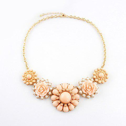 Exquisite Colored Bead and Faux Gemstone Embellished Flower Pendant Alloy Necklace For Women - PINK