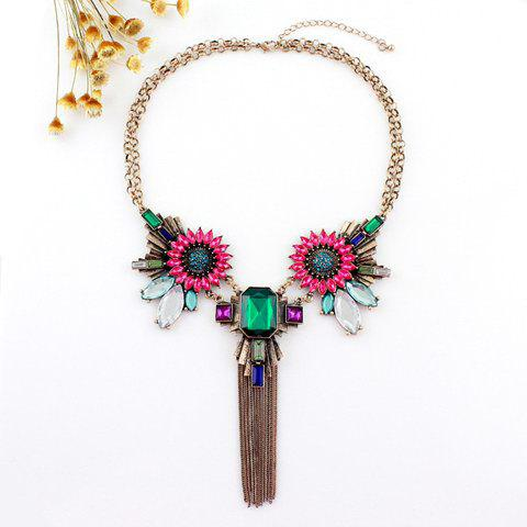 Ethnic Style Faux Gem Design Multi-Layered Tassels Necklace - AS THE PICTURE