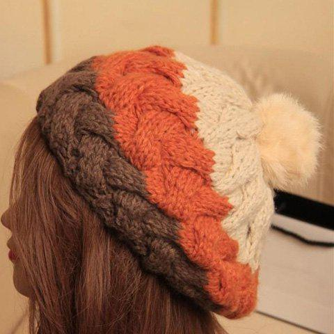 Chic Fluffy Ball Embellished Patchwork Beanie Hat For Women - GINGER