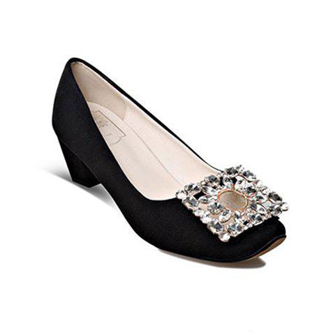 Sweet Square Buckle and Rhinestone Design Women's Pumps - BLACK 35