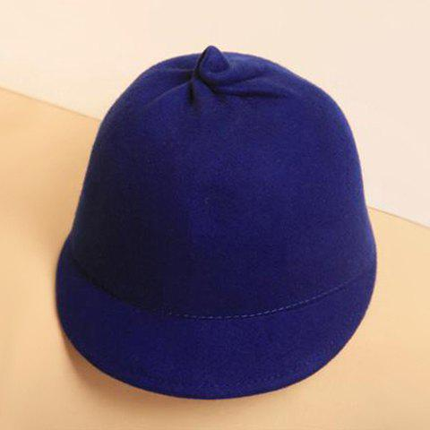 Sweet Solid Color Woolen Horseman Hat - BLUE ONE SIZE