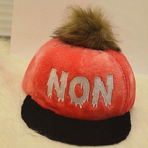 Chic Fuzzy Ball English Letter Print Hip-Pop Baseball Cap For Women