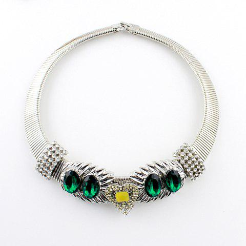 Chic Style Rhinestoned Heart Shape Choker Necklace For Women