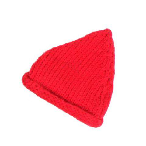 Sweet Solid Color Hemming Woolen Yarn Beanie Hat For Women - RED ONE SIZE