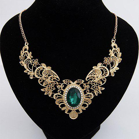 Stylish Faux Gem Decorated Openwork Flower Carved Necklace For Women