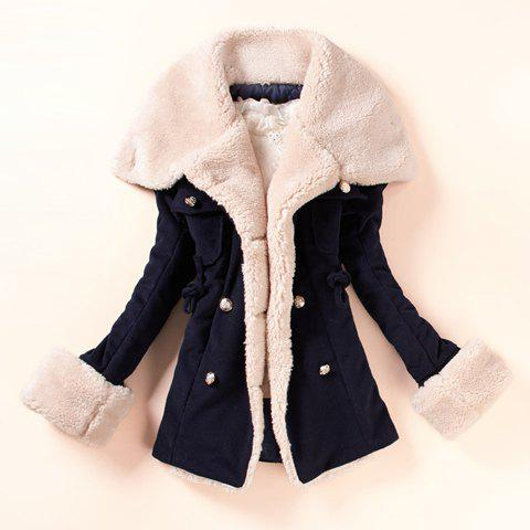 Fashionable Turn-Down Collar Double-Breasted Beam Waist Drawstring Long Sleeves Slimming Worsted Overcoat For Women - NAVY ONE SIZE