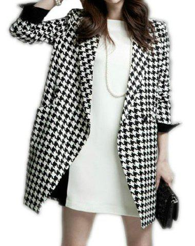 Elegant Long Sleeve Lapel Neck Houndstooth Coat For Women - AS THE PICTURE S